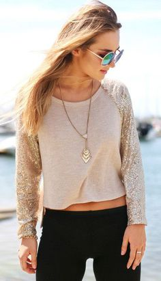 Hi-Lo Sequins Top (with a tank underneath)