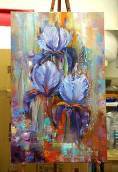 One of the best irises painting I have ever seen Iris Painting, Oil Painting Flowers, Abstract Flowers, Art Moderne, Acrylic Art, Art Oil, Painting Inspiration, Art Pictures, Flower Art