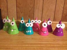 Monster party hats - DIY More - My WordPress Website Little Monster Birthday, Monster 1st Birthdays, Monster Birthday Parties, Baby Boy First Birthday, 3rd Birthday Parties, Birthday Fun, First Birthdays, Birthday Ideas, Diy Party Hats