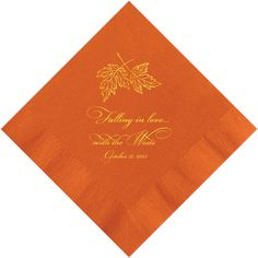 Personalized Napkins Leaves fall in love wedding by PersonalKitten