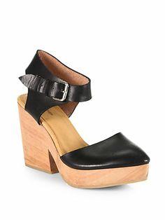 A Detacher - Michelle Leather Ankle-Strap Wooden Wedges - Saks.com