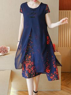 Women Floral Print Fake Two Pieces O-neck Short Sleeve Dresses