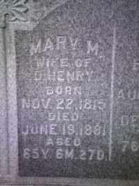 Maria (Mary) Magdalena Beckley Henry,  Prairie Grove Cemetery, Fort Wayne, Allen, Indiana