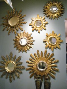 Beautiful Sunburst Mirrors For Mirror Wall Decor: Sunburst Mirrors With Silver Leaf Trim