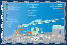 Map of the Port of Civitavecchia with all entrances (pedestrian and car), shuttle bus routes, parking facilities, information points and main monuments of the Historic Port