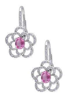 14K White Gold Diamond & Pink Sapphire Flower Earrings - 0.20 ctw