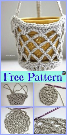15 Useful Crochet Hanging Basket - Free Patterns This Crochet Hanging Basket project is super useful, and great for organizing. They are simple to crochet too! Crochet Owl Basket, Crochet Basket Pattern, Crochet Bags, Unique Crochet, Cute Crochet, Boy Crochet, Crochet Lampshade, Crochet Plant Hanger, Knitting Patterns