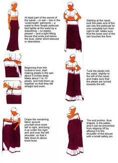 how to wear a sari  Brilliant! Just what I need!