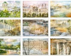 Set of prints - living room art - set of 9 Postcard 4x6 art prints - Watercolor Photography - travel city St Petersburg - Moscow - Russia