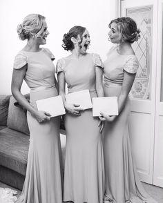 Bridesmaids looking regal in their Dora cap sleeves gowns. #whiterunway