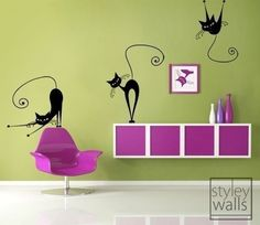 Isnt this so cute?  Set of 3 Naughty Cats Vinyl Wall Decal by styleywalls on Etsy, $39.00 kitkatpiazza