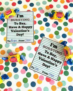 Bubble Gum Valentine Idea and printable tag! Simple valentine idea for classmates and friends