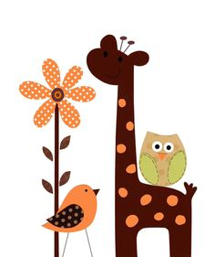 The Orange Polka Dot Giraffe - Baby Boy Nursery Kids Wall Art Neutral Baby Room by vtdesigns, $14.00