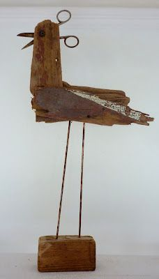 Gilbert, who is suitable to display inside or out...driftwood, copper legs, scissors....clever :))