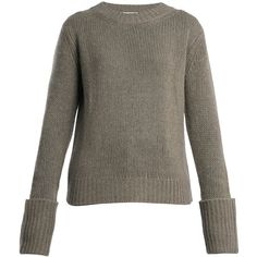 The Row Gibet crew-neck cashmere sweater ($990) ❤ liked on Polyvore featuring tops, sweaters, grey, cashmere sweater, oversized cashmere sweater, crew-neck sweaters, j.crew cashmere sweaters and pure cashmere sweaters