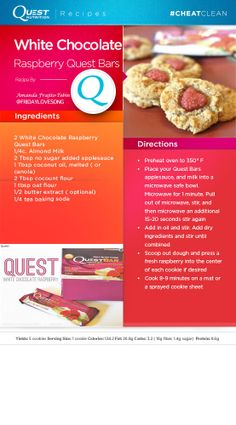 Coooookies!! Check out these #Quest White Chocolate Raspberry #CheatClean cookies made by fan Amanda! Soy Milk Nutrition, Grape Nutrition, Quest Nutrition, Protein Bar Recipes, Protein Desserts, Protein Powder Recipes, Protein Foods, Healthy Foods, Raspberry Bars