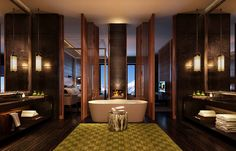 Bathroom. The Chedi Andermatt, Switzerland. © GHM