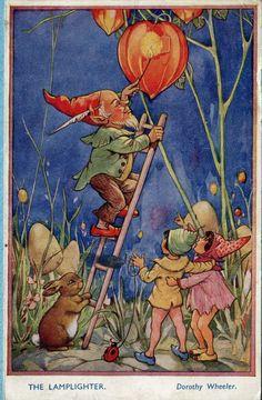 """ The Lamplighter"" Art By Dorothy Wheeler - An English Nursery Tale"