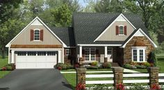 Elevation of Craftsman   European   French Country   Southern   Traditional   House Plan 59213