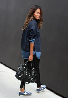 sincerely jules balenciaga bag new balance leather pant denim shirt