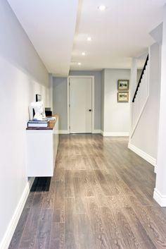Fauxdenza, basement hallway storage, floating credenza, two-tone credenza, mid century modern style, hallway credenza, basement hallway design