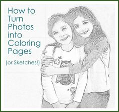 From Photos to Sketches or Coloring Pages. Great idea to make personal family coloring books. Diy Crafts For Gifts, Crafts For Kids, Paper Crafts, Easy Crafts, Tips And Tricks, Colouring Pages, Coloring Books, Coloring Sheets, Just In Case