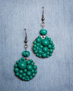 Handmade Polymer Clay Turquoise Beaded Earrings by JenniferAnnFineArt, $24.00