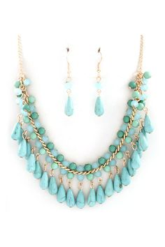 Ella Necklace in Mint and Turquoise on Emma Stine Limited