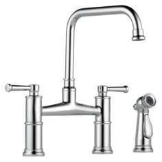 Buy the Brizo Brilliance Polished Nickel Direct. Shop for the Brizo Brilliance Polished Nickel Artesso Bridge Kitchen Faucet with Side Spray - Limited Lifetime Warranty and save. Kitchen Faucet With Sprayer, Faucet Kitchen, Kitchen Cabinets, Pc Android, Bar Faucets, Taps, Steam Showers Bathroom, Shower Panels, Plumbing Fixtures