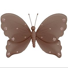 Nylon Butterfly 18' X-Large Brown Pink Jewel Hanging Mesh Butterflies Decorations - Butterfly Decor For Girls Bedroom, Baby Nursery, Home, Playroom, Wedding, Wall and Ceiling by Bugs-n-Blooms -- Don't get left behind, see this great product offer  : Nursery Decor