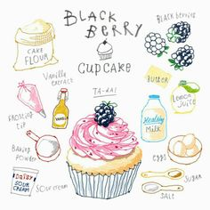 Cupcake Illustration, Cartoon Recipe, Cute Food, Yummy Food, Blackberry Cupcakes, Recipe Drawing, Food Doodles, Cupcake Drawing, Food Sketch