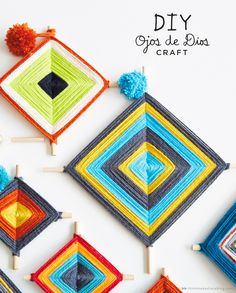 How to make Ojo de Dios. Yarn gift and decoration ideas: homeschool art activities and DIY classroom projects! Dad Crafts, Fathers Day Crafts, Crafts For Kids To Make, Art For Kids, Fall Arts And Crafts, Summer Crafts, God's Eye Craft, Gods Eye, Idee Diy