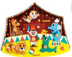 Janod Circus of the stars puzzle `One size Age : 18 months and upwards Details : 6 piece(s) Fabrics : Wood Length : 27 cm, Width : 22 cm, Thickness 23 cm. http://www.comparestoreprices.co.uk/january-2017-7/janod-circus-of-the-stars-puzzle-one-size.asp