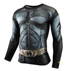 2015 New Sport Fitness Compression Shirt Men Superman Bodybuilding Long Sleeve 3D T Shirt Gym Crossfit Running Tops Shirts