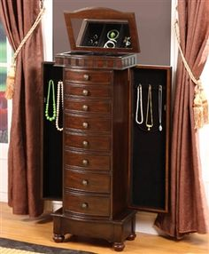 Merveilleux Large Floor Standing Jewelry Box Cabinet With Eight Curved Drawers