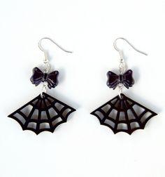 Black Acrylic Spider Web Cobweb Gothic Earrings by Pornoromantic