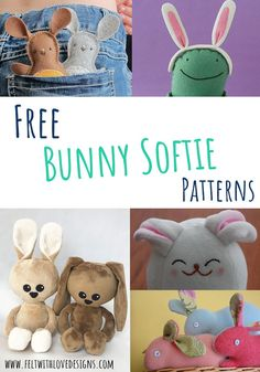Bunny Softie Sewing Patterns - Felt With Love Designs Diy Handmade Toys, Handmade Felt, Cute Easter Bunny, Felt Bunny, Animal Sewing Patterns, Felt Patterns, Sewing Stuffed Animals, Stuffed Animal Patterns, Sewing Kids Clothes