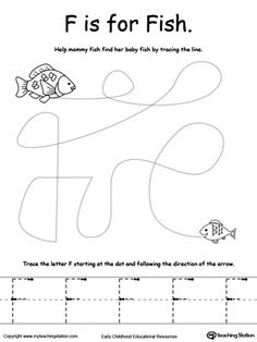 the letter f is for fish tracing worksheetsalphabet