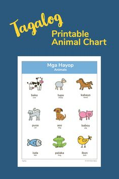 Animal chart with English and Tagalog names # Tagalog Preschool Charts, Preschool Worksheets, Languages Online, Learn Languages, Foreign Languages, Tagalog Words, Filipino Words, Filipino Culture, Language Quotes
