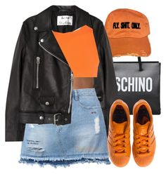 """fso x moschino"" by lovebrii-xo ❤ liked on Polyvore featuring Moschino, Acne Studios, Steve J & Yoni P and adidas"