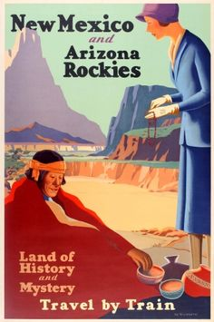 """New Mexico Arizona Rockies Railway, 1920s - original vintage poster by the brothers Kenneth and William Willmarth (""""The Willmarths"""") - New Mexico and Arizona Rockies Land of History and Mystery Travel by Train - listed on AntikBar.co.uk"""