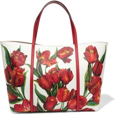 Dolce & Gabbana Dauphine floral-print textured-leather tote (6.660 BRL) ❤ liked on Polyvore featuring bags, handbags, tote bags, red, red handbags, colorful tote bags, white tote, dolce gabbana handbag and red tote handbags