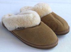 6bbf6c8b095 EDDIE BAUER Chestnut Brown Suede  amp  Sheepskin Slip On Scuff Slippers  Womens 8  fashion