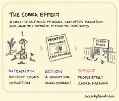 The Cobra Effect - People are smart. Incentives work, in the sense that you tend to get what you incentivise. So be careful what you are incentivising. Also see: Goodhart's Law and What gets measured gets better. Thinking Skills, Critical Thinking, Systems Thinking, Deep Thinking, Social Design, Knowledge Management, Self Improvement, Problem Solving, Life Lessons