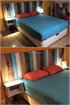 Here we are proudly going to present an amazing reused pallets bed headboard. This bed headboard is simple wood pallets creation but we have further decorated it with white, dark-brown and sky-blue color to enhance it's beauty.