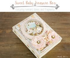 """I love making little boxes, and adding my Remnant Dome on top adds the perfect piece to finish it off. You can add anything inside of it, maybe a small little baby shoe, a glove, anything your heart desires! I personally added a piece from the ephemera. I thought that it was super adorable...the sequins really finish it off!"" ~ Frank Garcia"