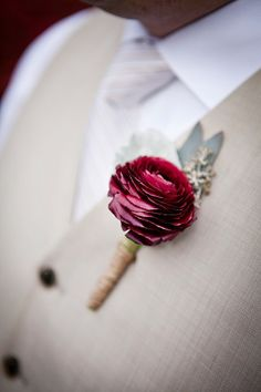 Burgundy ranunculus boutonniere wrapped in twine. rustic summer wedding at Oakhurst Golf and Country Club. Kate Saler Photography