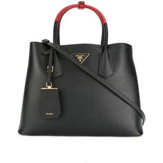 Prada Double tote bag (35.618.275 IDR) ❤ liked on Polyvore featuring bags, handbags, tote bags, black, structured tote bag, prada tote, genuine leather tote bags, handbags totes and leather handbag tote