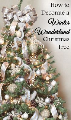 How to Decorate a Winter Wonderland Christmas Tree How to decorate a winter wonderland Christmas tree – gray, silver, gold,. Champagne Christmas Tree, Grey Christmas Tree, Silver Christmas Decorations, Winter Wonderland Christmas, Christmas Tree Themes, Christmas Tree Toppers, Xmas Tree, Christmas Diy, Gold Decorations