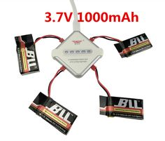 BLLRC MJX X400 X800 X300C FY550 HM1315 HJ819 3.7V 1000mAh Battery & 4 In 1 JST Charging Cable Parts for MJX RC Drone #Affiliate